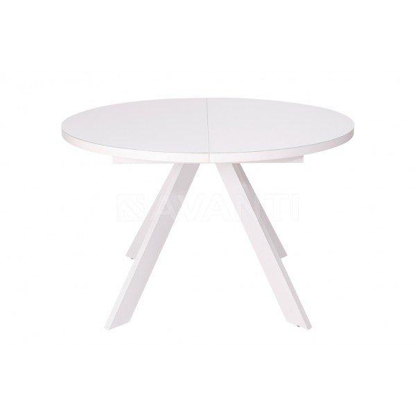 Стол обеденный раскладной EGO (D1200-1600x750)(белый матовый/экстрабелое стекло)  в Израиле