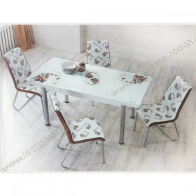 Glass Dining set F / Стол + 4стула