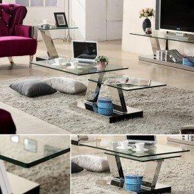 T917 / שולחן סלון זכוכית כפול